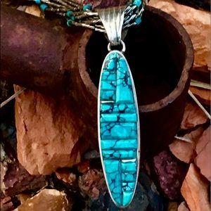 Native Cobblestone Turq Pendant 6-Strand Necklace